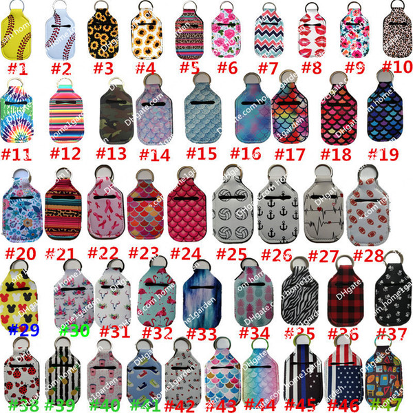 best selling 30ml Hand Sanitizer Holder Keychain Party Favor Mini Bottle Cover Square 195 Colors