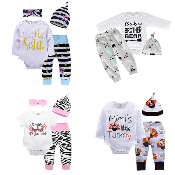 top popular Baby Three-piece Clothing Sets Sequins Baby Rompers Children Jumpsuits for Boys Girls Pants Shorts Hairband Hats Tops 6M-3T 2021