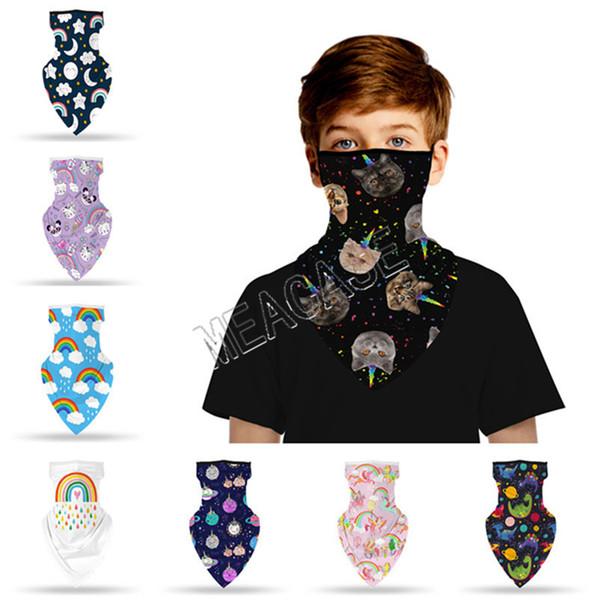 top popular Kid Children Cartoon Bandana Sports Scarf Multi-Purpose triangular Neck Gaiter Facemasks Cute Animal Print Neck Mouth Cover Boys GirlsD81902 2021