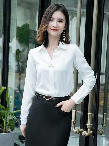Рубашка Одинокая белая с длинным рукавом