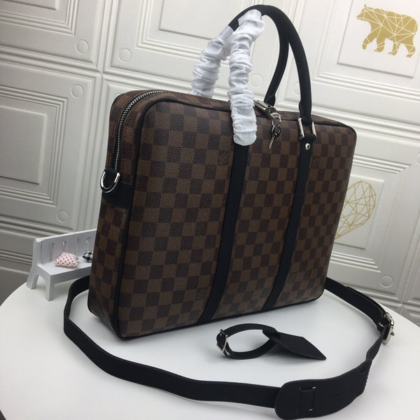 top popular Fashion brand Briefcase Business Crossbody Handbag Fashion Men Shoulder Bag Leather Laptop Bag Man Computer Bags 2020