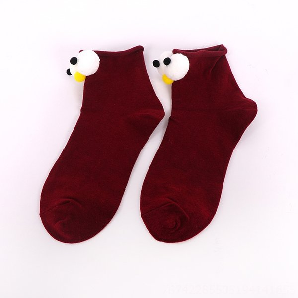 Wine Red Big Eye Socks
