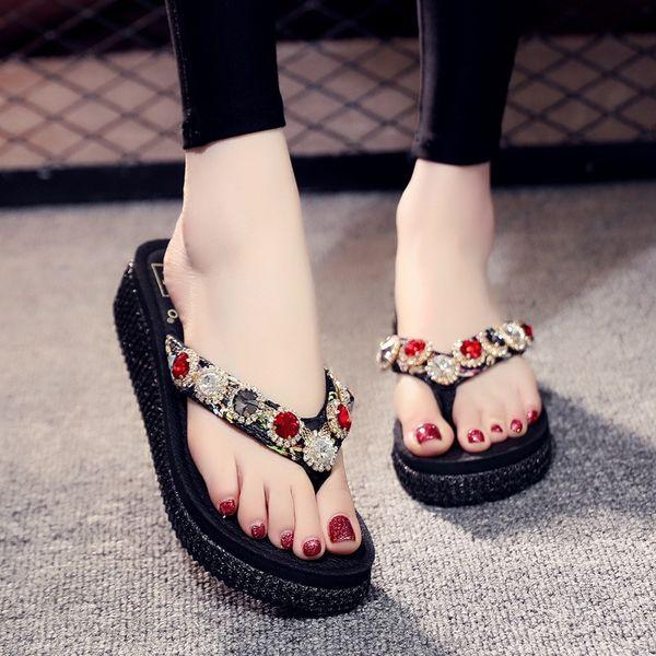 Black Rattan Flip-flops with No. 7 Diamo