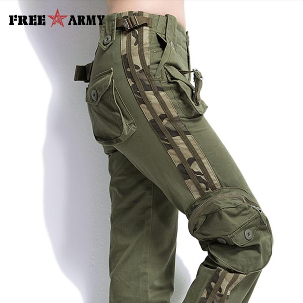 brand plus size cargo pants casual jogger pants mens army green camouflage sweatpants tactical khaki, Black