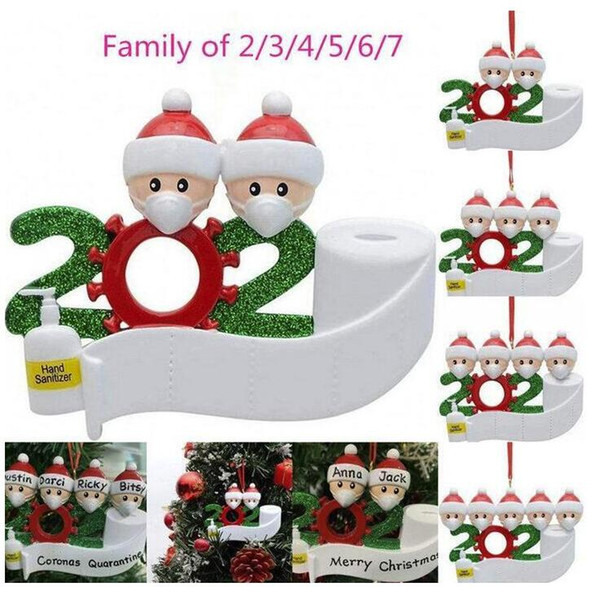 top popular DHL 2020 Quarantine Christmas Ornament Personalized Family 2 3 4 5 6 7 Hanging Ornaments Santa Claus Xmas Decoration DHL Shipping FY4265 2020