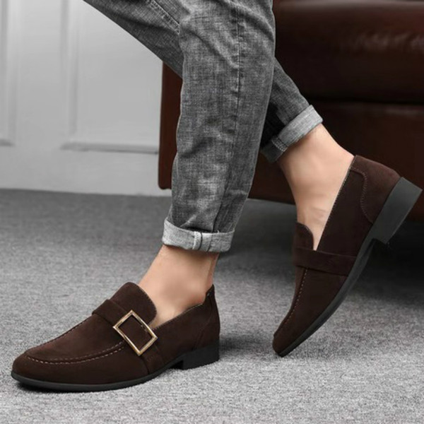 best selling Formal wear Frosted texture Men business shoes Large size low-heel Wear resistant and antiskid sole Light texture leather shoes