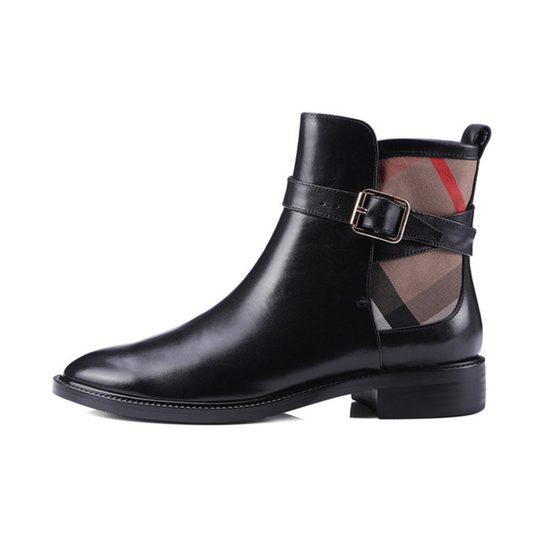 best selling 2020 Spring Autumn Fashion Woman ankle Boots Black Genuine Leather botas mujer Low Heels Soft Leather Boots