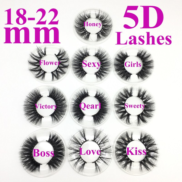 best selling 100% Mink Eyelashes 5D Eyelash 18-22 mm Wispy Fluffy False Mink Lash 5D Eye Makeup Big Volume Reusable Fake Eyelashes Extensions for Makeup