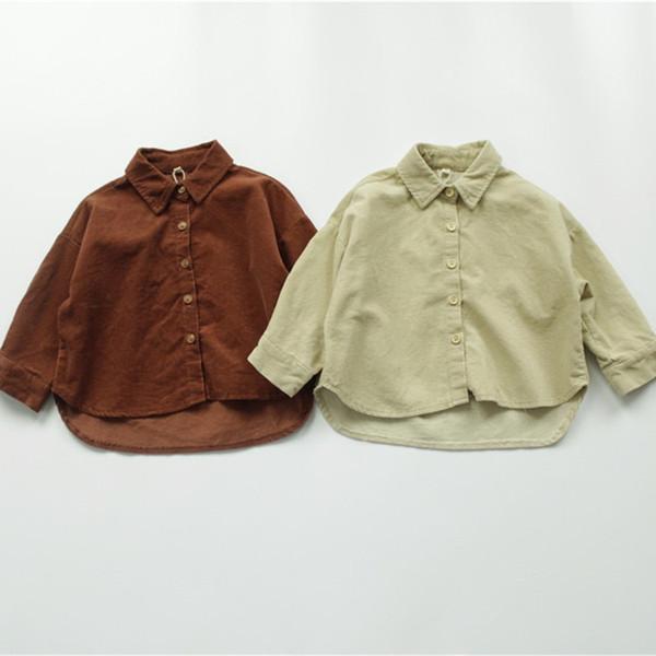 best selling FM INS Korean Japan Kids Girls Boys Shirts Coat Corduroy Cotton Turn-down Collar Front Buttons Quality Little Princess Blouses Children Tops