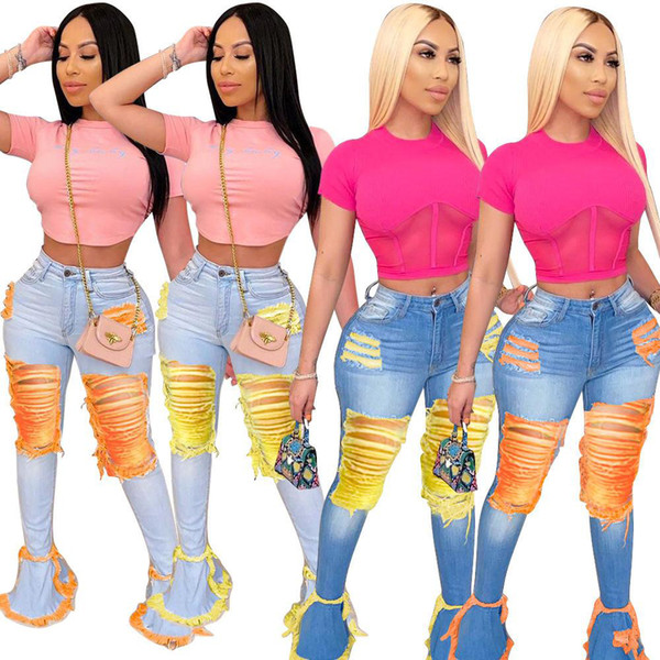 top popular Women Bell Bottom Jeans Hole Denim Flared Long Pants Trousers Sexy Ripped Full Length Leggings Bodycon Streetwear Stylish Clothing S-XXXXLX 2020