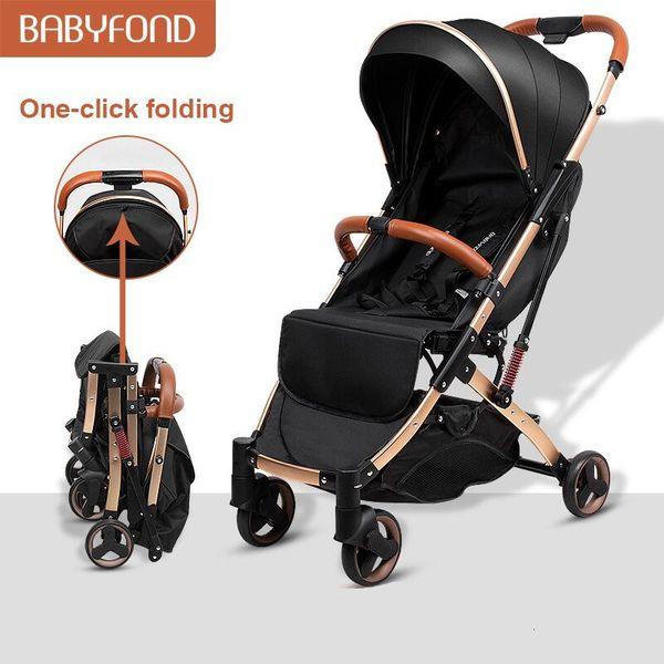 top popular Babyfond 5.8 kg Light Stroller Gold Frame Car Portable Carriage Umbrella Baby Stroller Newborn Travelling Pram on Plane Gifts 2021
