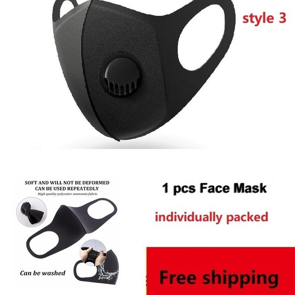 1 Pcs Black Mask-non Filter (style3)