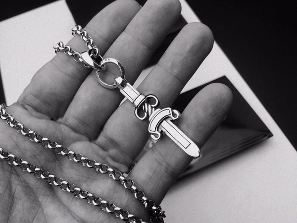 top popular Fashion stainless steel pendant necklace chain bijoux for mens and women trend personality punk cross style Lovers gift hip hop jewelry 2021