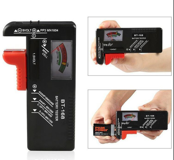 bt-168 aa/aaa/c/d/9v/1.5v batteries universal button cell battery colour coded meter indicate volt tester checker bt168 power