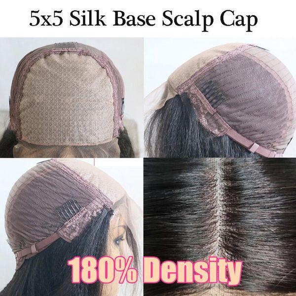 180Density 5x5 PU Seda base de la peluca