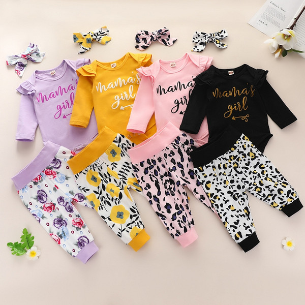 best selling Autumn Baby Clothing Sets Long Sleeve Letters Print Romper Top + Leopard Floral Pants + Headbands 3pcs set Boutique Newborn Outfits M2550