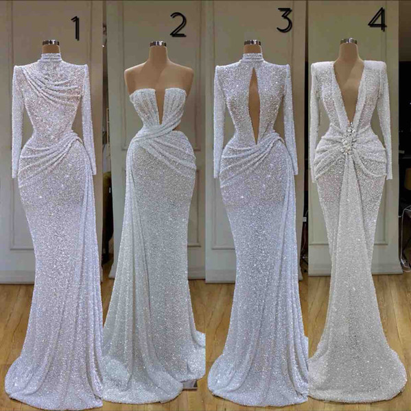 top popular Newest Glitter Mermaid Evening Dresses High Collar Sequins Beaded Long Sleeve Sweep Train Formal Party Gowns Custom Made Long Prom Dress 2021