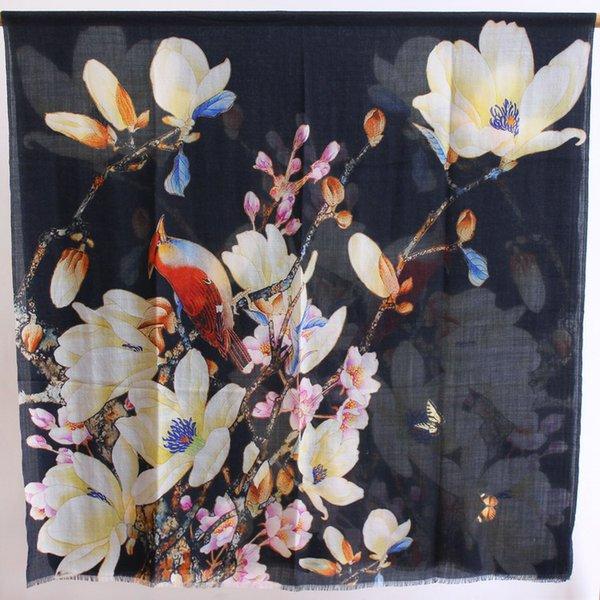 Thrush bird and Magnolia-Black