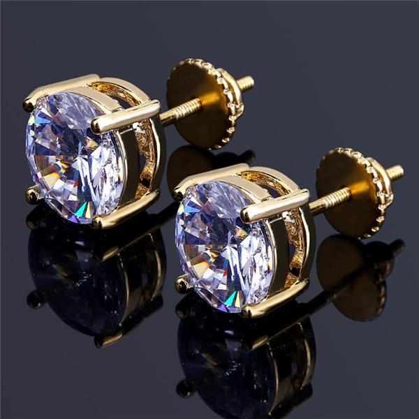 top popular 8mm Hip Hop Gold Plated Round Full CZ Stud Earring of Mens Womens Stud Earrings with Zircon Stone Women Birthday Gifts .gold silver 2020
