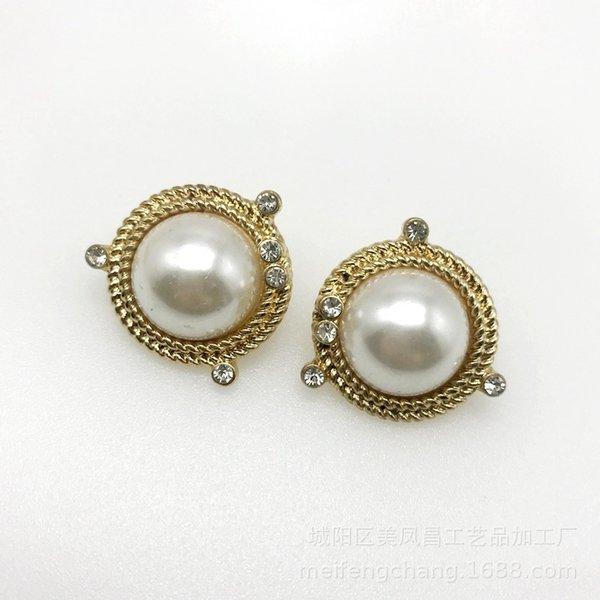 Round Diamond Pearl Clip à oreille
