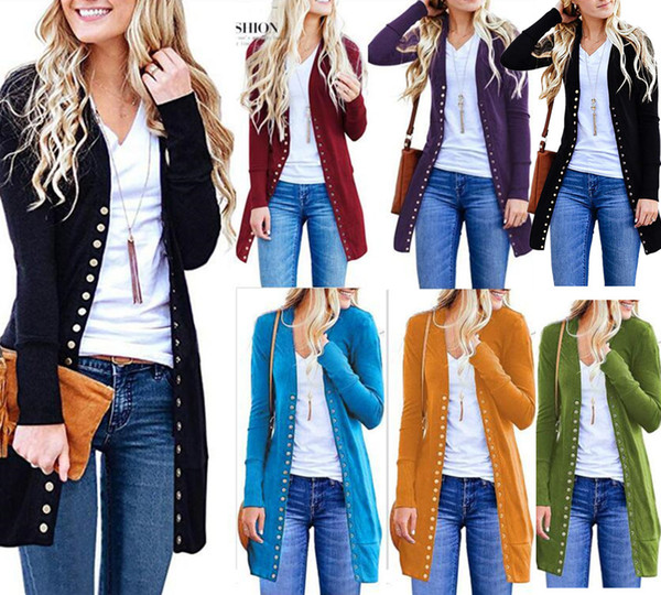 top popular Fashion New Womens Slim Warm Long Sleeve Knit Waterfall Office Jacket Blazer Coat Autumn Tops Covered Button Cardigan Streetwear 2020