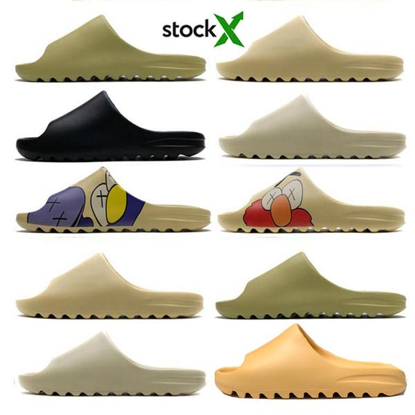 best selling High quality kanye sandals shoes foam runner triple black white red Slide bone resin desert sand earth brown men women slippers sneakers