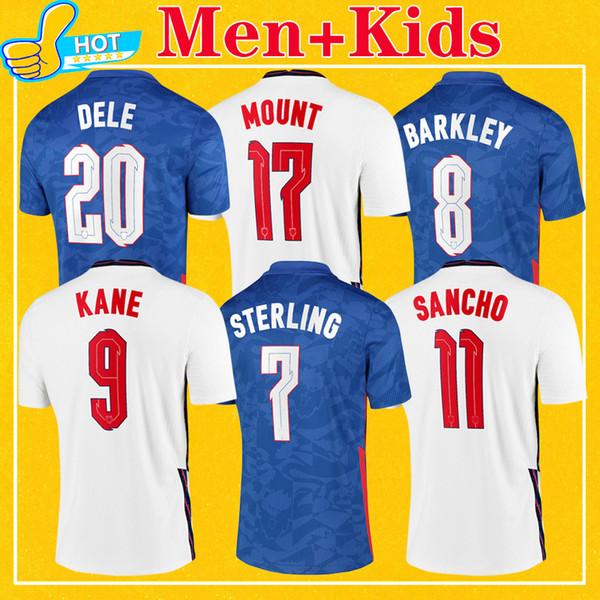 top popular England Soccer Jersey 2021 Home Away STERLING KANE RASHFORD SANCHO MOUNT ABRAHAM DELE TOP Quality Kids Kit Men 20 21 Football Shirt 2020