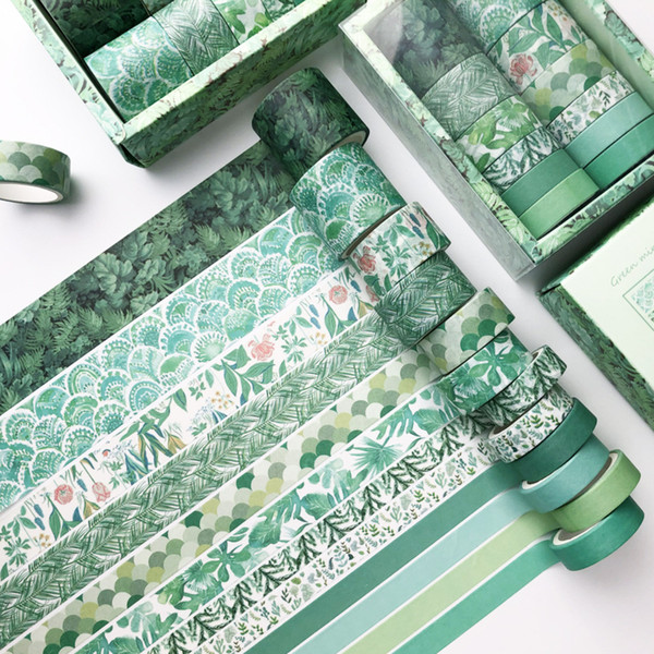 best selling Green Plant Washi Tape Solid Color Masking Tape Decorative Adhesive Tape Sticker Scrapbooking Diary Stationery Supply 2016 JK2008XB