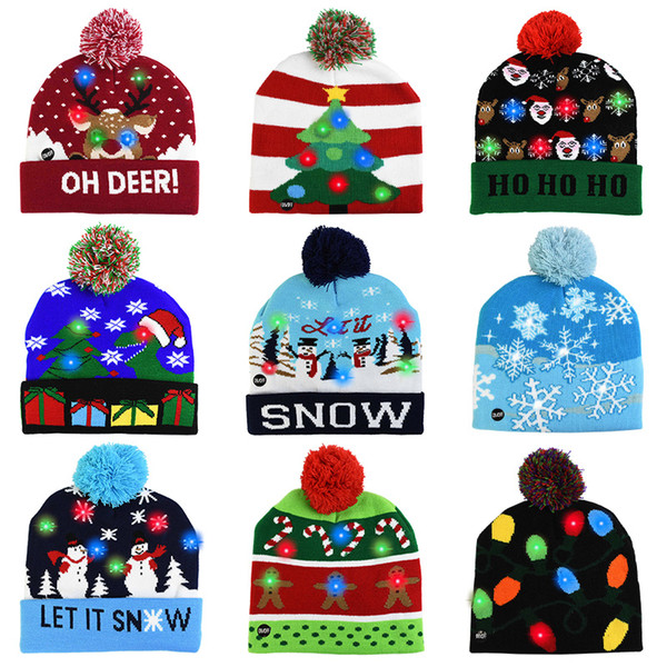 best selling Led Christmas Knitted Hats Kids Baby Moms Winter Warm Beanies Crochet Caps For Pumpkin snowmen Festival party decor gift props