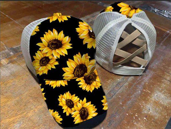 top popular 12style Cross Hat Ponytail Baseball Cap Criss Cross Washed Cotton Trucker Caps Sunflower Leopard Hats Snapback Tie-Dye Mesh Cap GGA3655-2 2021