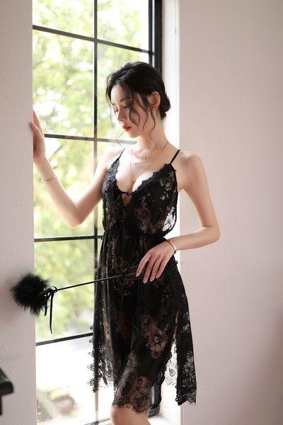 Черный шелковый Nightdress + т Брюки-One Size