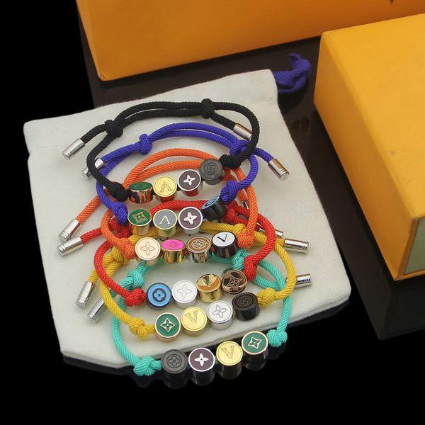 top popular Europe America Fashion Style Men Lady Women Titanium steel Color Rope Bracelet With Engraved V Initials Enamel Flower Charm 2021