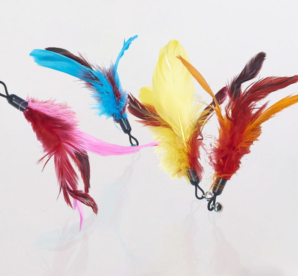 top popular Feather Teasing Cat Stick Replacement Plastic Cat Toy Bell Teasing Pet Cat Supplies Feather Replacement 4 options 2021