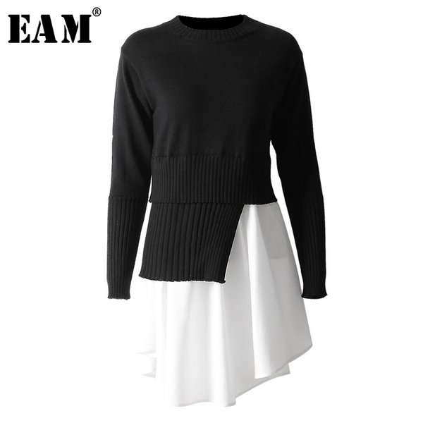 eam] 2020 new spring autumn round neck long sleeve black pleated irregular hem stitch knitting sweater women fashion tide jo002, White;black