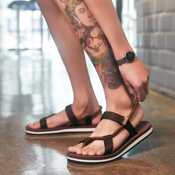 7204 Drawstring Sandals Brown And White