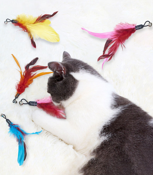 best selling ePackage Shipment Feather Teasing Cat Stick Replacement Plastic Cat Toy Bell Teasing Pet Cat Supplies Feather Replacement 4 options