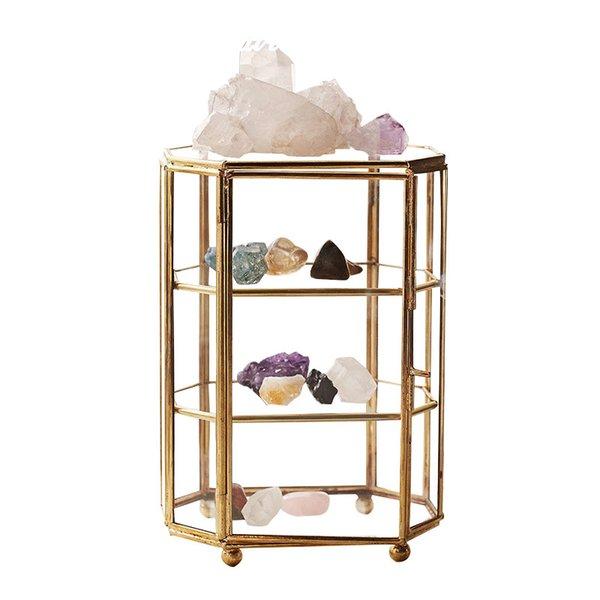 best selling Six-sided Jewelry Box Beautiful European New Creative Glass Jewelry Box Copper Strip Glass Gift Box