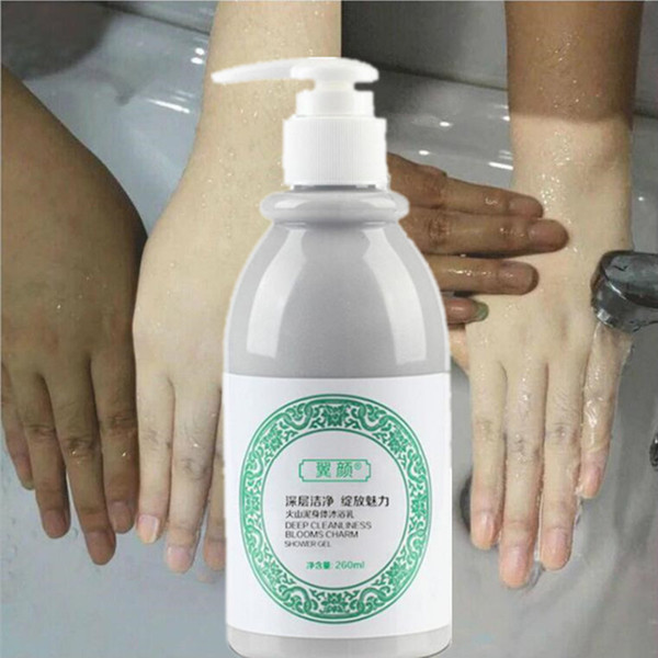 top popular 260 ML Whitening Body Shower Gel Volcanic Mud Volcanic Mud Shower whitening mud Whole Body Wash Fast Whitening Clean Skin250ml 2021