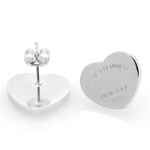 best selling New Fashion Gold Silver Rose gold Branded Women Stainless PLEASE RETURN TO Heart charms stud Earring 1pcs drop shipping
