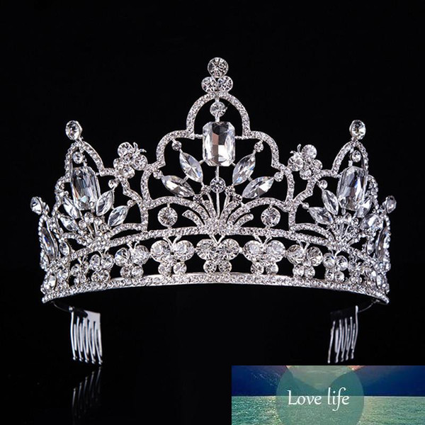 best selling Hot Silver Crystal Large Queen Pageant Crown Noble Rhinestone Diadem Tiaras For Princess Headbands Wedding Hair Accessoriest-029 J190701
