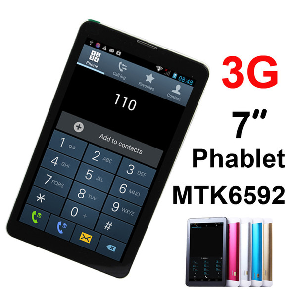 best selling 7 Inch MTK6592 Duad Core Phablet Dual SIM 3G Phone Call Bluetooth GPS 1024*600 HD Capacitive Android 4.4 dual camera tablet pc DHL colorful