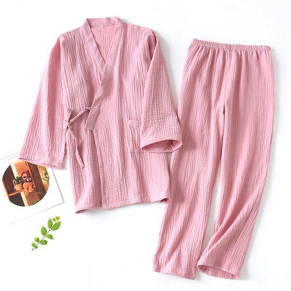 Color sólido Crepe Kimono Set de pasta de alubias