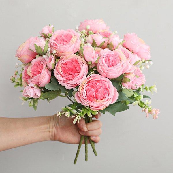 Hot Selling 1pcs/30cm Rose Pink Silk Bouquet Peony Artificial Flower 5 Big Head 4 Small Bud Bride Wedding Home Decoration Artifi