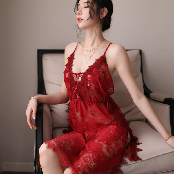 Красный Nightdress + т Брюки-One Size