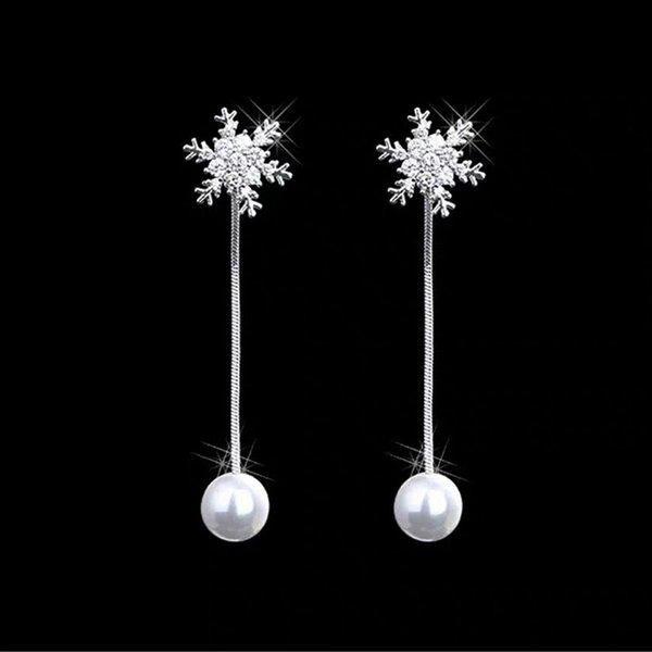 495-aiguille d'argent: flocon de neige Boucles d'oreilles W