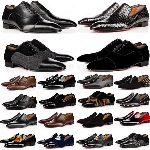 top popular hot 2020 designer mens shoes loafers black red spike Patent Leather Slip On Dress Wedding flats bottoms Shoe for Business Party size 39-47 2020