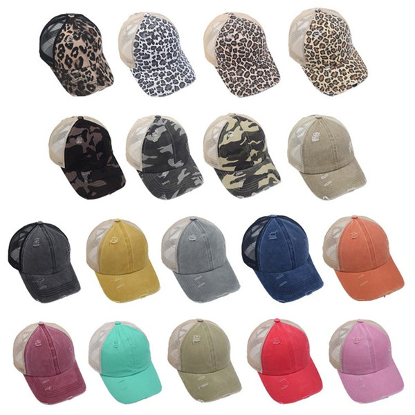 best selling Ponytail Baseball Caps Washed Buns Hats Leopard Camouflage cap Criss Cross Pony Cap Outdoor Snapbacks Caps Party Hats T2C5263
