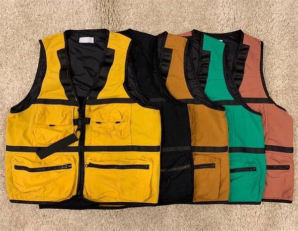 best selling #8825 Autumn Jacket Multifunctional Waistcoat Tooling Pocket Vest Zipper All-match Waistcoats 5 Colors M-2XL