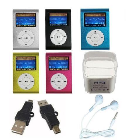 MP3 + USB кабель + наушники + Кристалл Box