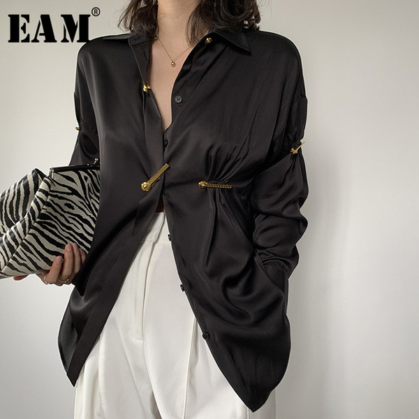 eam] women black pleated split elegant blouse new lapel long sleeve loose fit shirt fashion tide spring summer 2020 1w477, White